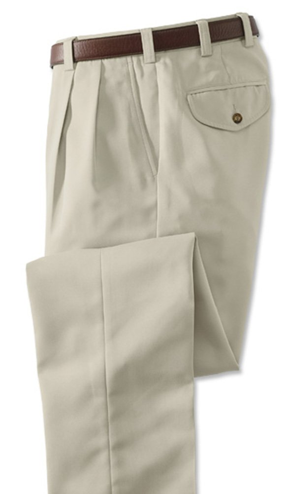 Orvis Men's Microfiber Travel Pants With Hidden Pockets/Pleated, Stone, 36W X 31 3/4L