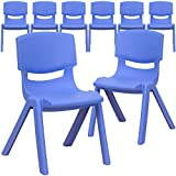 Flash Furniture 8 Pk. Blue Plastic Stackable School Chair with 12'' Seat Height