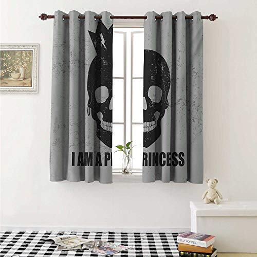 shenglv I am a Princess Decorative Curtains for Living Room Skull with a Crown Skeleton Halloween Theme Grunge Look Curtains Kids Room W72 x L72 Inch Charcoal Grey and Pale Grey ()