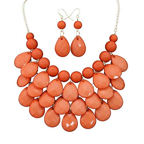 Layered Dangling Bubble Necklace and Earring Set,Statement Jewelry Set,Bib Necklace Earrings Set For Women