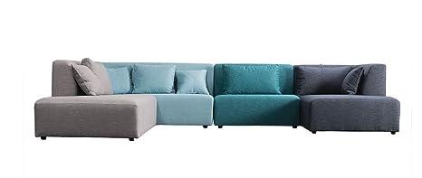 Miliboo - Divano modulare Design Blu 365cm componibile 2 PLURIEL ...
