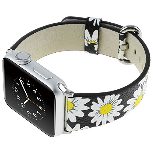 Japuwy Leather Flower Watch Band 42mm Replacement Bracelet Wristband for New 2018 Apple Watch Series 3 Sport(42mm Black Surface White Flower)