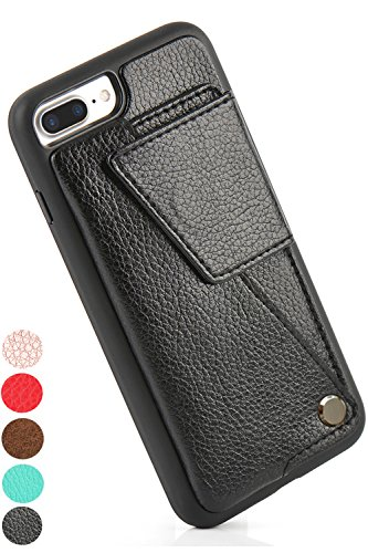 iPhone 7 Plus/iPhone 8 Plus Wallet Case, ZVE Leather Durable Shockproof iPhone 7/8 Plus Card Holder Cases with ID Credit Card Slot for Apple iPhone 7 Plus (2016) / iPhone 8 Plus (2017) - Black