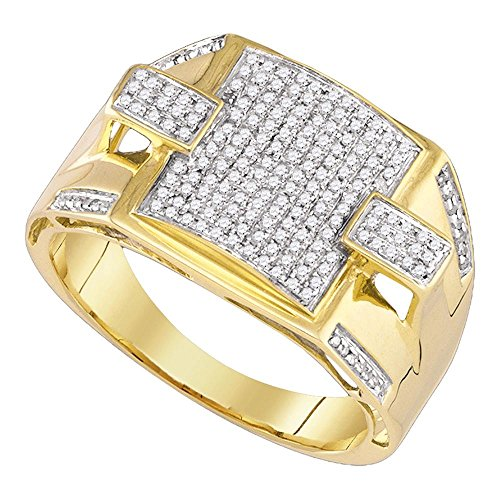 Diamond Square Mens Ring (Mens Square Diamond Fashion Ring Solid 10k Yellow Gold Band Round Pave Set Cluster Style Polished 3/8 ctw)