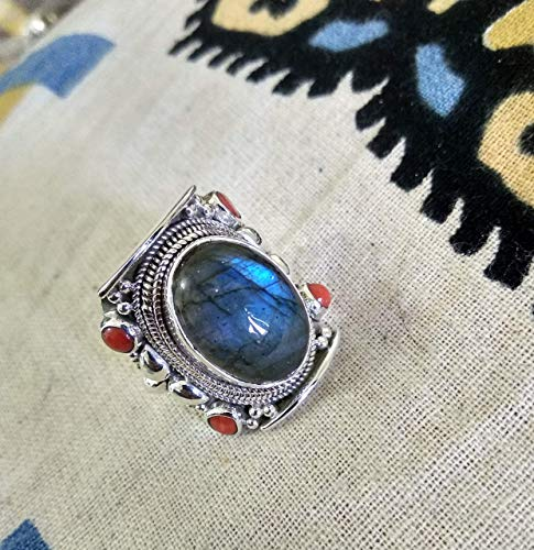Labradorite & Coral Ring, 925 Sterling Silver, Victorian Ring, Party Wear Jewelry, Love Ring, Fashionable & Handmade Ring, Natural Ring, Antique Ring, Boho & Hippie Ring, Smooth & Shining Ring, Gift