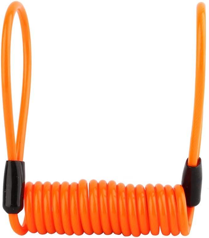 bloqueo de disco de alarma de bicicleta de motocicleta Antirrobo Cable de recordatorio de resorte de seguridad apretado naranja Cuerda antirrobo de recordatorio de resorte