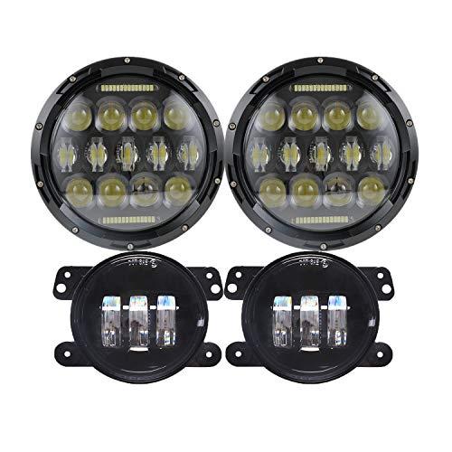7'' Black 75w LED Driving Headlights with DRL+ 4 Inch LED Front Fog Lights for Jeep 97-2017 JK TJ - Socket Led Assembly Lx