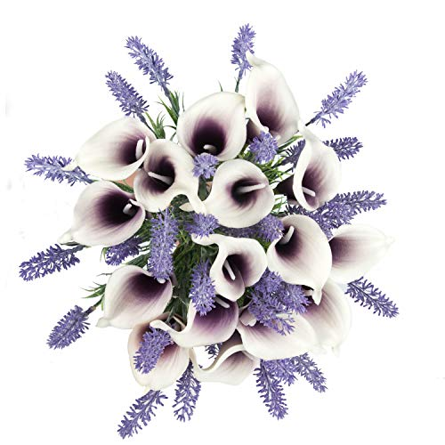 Miracliy Artificial Flowers Lavender Bouquet Calla Lily Mixed Bush Bridal Wedding Bouquet flower arrangement wedding decor, Purple 20 Pieces