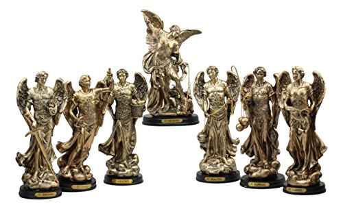Angel Collectible Plate - Ebros Byzantine Catholic Church Archangel Saint Michael Gabriel Barachiel Sealtiel Jehudiel Uriel And Raphael Statues Set of 7 Angelic Council Decorative Figurines With Brass Name Plate Wooden Bases