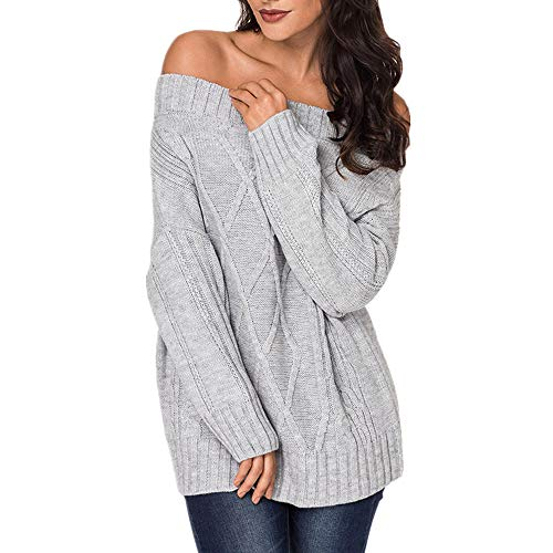 Exlura Womens Sexy Off Shoulder Long Sleeve Loose Cable Knit Pullover Sweater