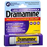 Dramamine Motion Sickness Relief Less Drowsy Formula - 8 Tablets, Pack of 5
