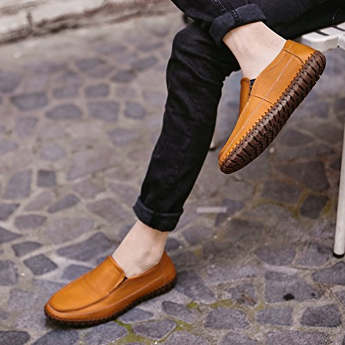 Uomo Elegante Giallo Sintetica Loafers Dooxi Mocassini Scivolare Scarpe da Casuale Scarpe Pelle Barca dfx5OZw5