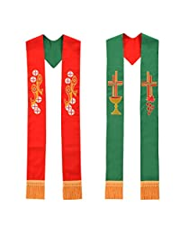 Blessume Pastor Vestments Reversible Stole Red and Green