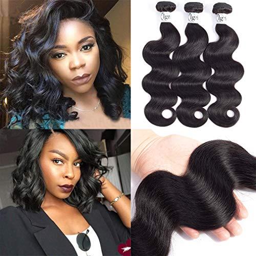 (Igrina 8A Mink Brazilian Virgin Hair Body Wave 3 Bundles Deals Remy Human Hair Bundles Weave Body Wave Bundles Good Cheap Weave Wavy Human Hair Extensions 100g/piece Natural Color (10 12 14 inch))