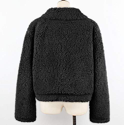Wool TUDUZ Size Coats Faux Cardigan Overcoat Lapel Outwear Warm Women Black Soft Jackets Fluffy Fleece Plus Fur Winter Zipper Artificial qPWYWt8