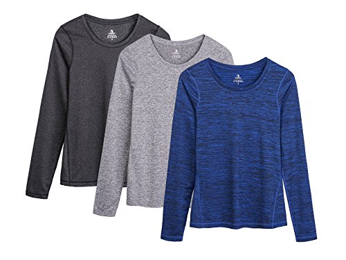 out Yoga Long Sleeve T-Shirts with Thumb Holes (Black Heather/Granite/Royal Blue, L) ()