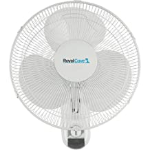 ROYAL COVE 2477854 3-Speed Oscillating Wall Mount Fan, 16-Inch