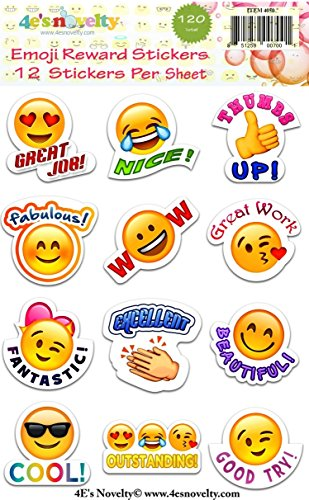 120 Emoji Reward Stickers great for teachers 4E's Novelty