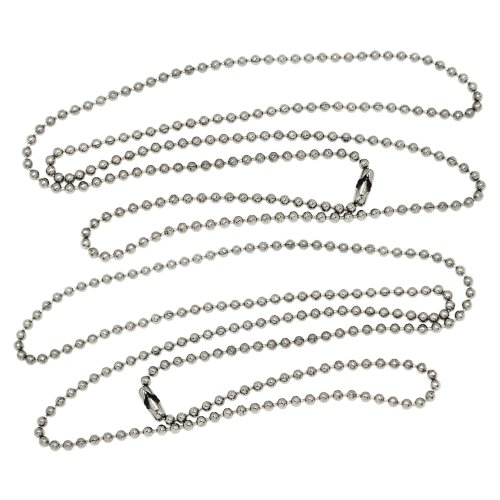 Nickel Chain Ball Plated (30 Inch Nickel Plated Steel #3 Ball Chain Necklaces 100 Count)