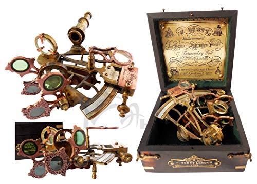 MAH Brass Ship History Sextant with Hardwood Box. C-3082
