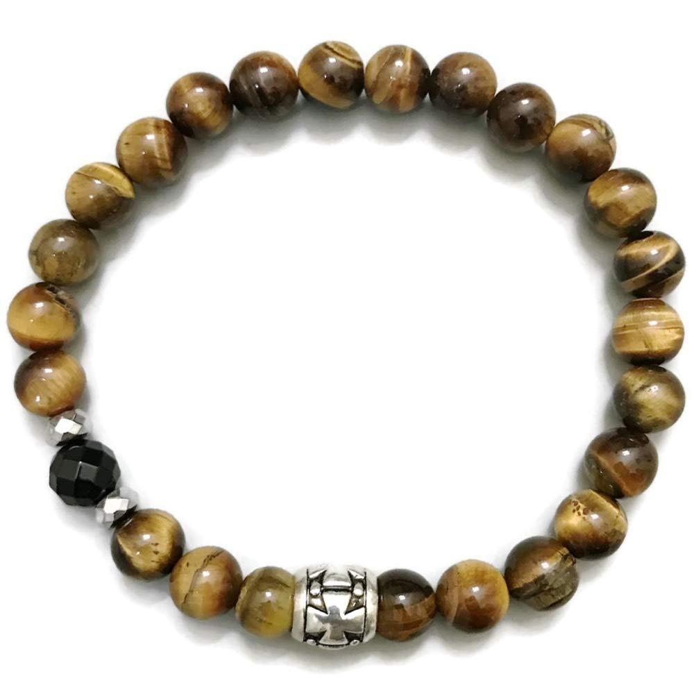 Hematite Cross Reiki Boho Yoga Beaded Meditation Stretch Mens Chakra Jewelry Determination : Tiger Eye KarmaArm Spiritual Bracelet Onyx