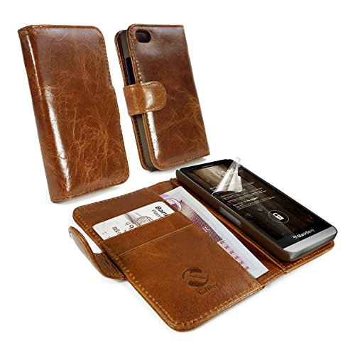 Tuff-Luv Vintage genuine leather wallet case cover (inc screen protector) for Blackberry Z30 - Brown - Blackberry Z30 Leather Case