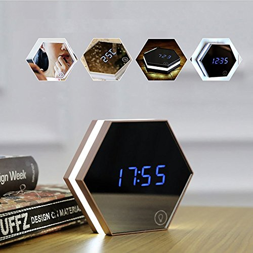 PeGear Mirror Alarm Clock Rechargeable Digital Alarm Clock with Led Table Lamp for Travel and - Digital App Mirror