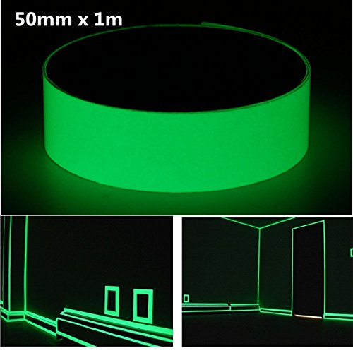Photoluminescent Safety Tape - Pink Lizard 50mm x 1m Photoluminescent Tape Glow In The Dark Egress Safety Mark Bright Green