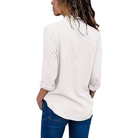 ❤ Blusa de Las Mujeres Cuello en V, Abrigo Informal enrollar Manga Larga Blusas sólidas Camiseta de Las Camisetas Tops Absolute: Amazon.es: Ropa y ...