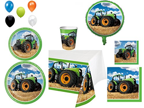 Disposable Plates/Napkins/Cups/Tablecloth/Balloons Tractor Time Themed Party Pack, 8 Piece Bundle
