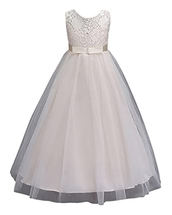 207e66b03408 Girl s Princess Flower Girl Long Dresses Lace Sleeves Dress for ...