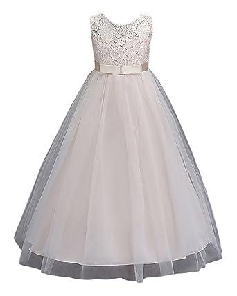 1830954ac1f6 Girl s Princess Flower Girl Long Dresses Lace Sleeves Dress for ...