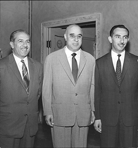 Vintage photo of Mr. AJ Ismail, General MA Baghdadi and Mr. MA Osama in negotiations on cooperation with Sweden in technical issues and in trade.
