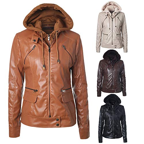 Women Slim Coats Women's Black Detachable Zipper Leather Lapel Women's Leather Long Jacket Hooded Sleeve Jacket Outwear Removable Caps Zw0Tq8xTS