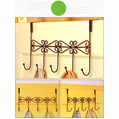 Xingyou Over Door Clothes Hanger with 5 Hooks Decorative Metal Hanger for Coats, Hats, Towels XY-H-002 (Max Bearing Weight: 10kg/22 lbs) Coffee (2) by Xingyou (Image #3)