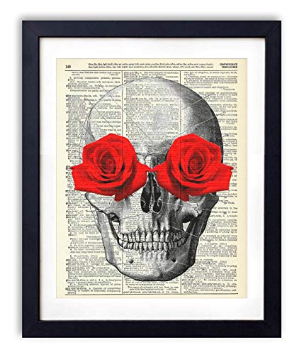 Skull With Red Roses Upcycled Vintage Dictionary Art Print 8x10 (Tattoo Print Art)