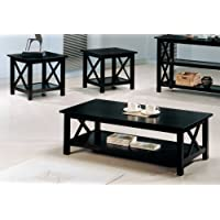 Coaster 3-Piece X-Design Occasional 3-Piece Table Set, Deep merlot