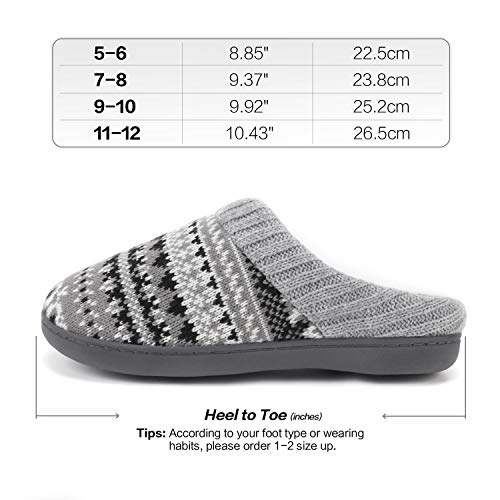 PENNYSUE Women's House Slippers Comfort Sweater Knit Memory Foam Slippers Anti-Slip Sole