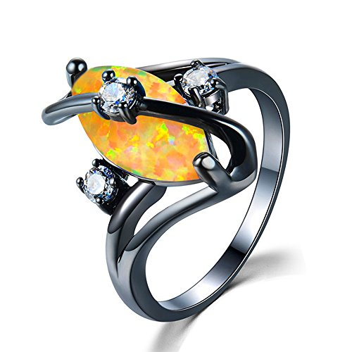 T&T ring Unique Orange Fire Opal Vintage Ring Jewelry for Women & Men Wedding Engagement Rings (Heart Tiffany Style Key Ring)