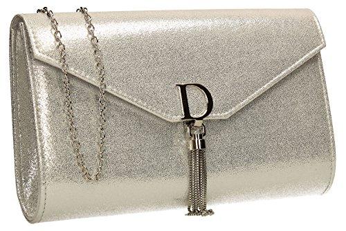 Dana Gold Prom Bag Wedding Clutch Womens Swankyswans Silver Ladies Metallic Shiny Party rR5UWqOrHw