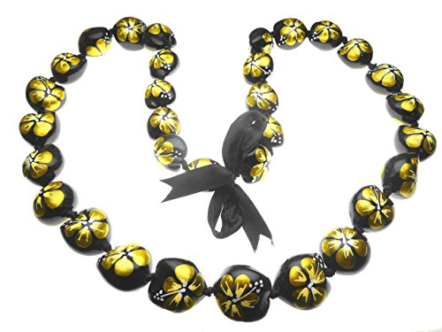 Aloha Passion Hawaiian Style Kukui Nut Lei, Hand Painted Gold Color Hibiscus 32 Inches ()