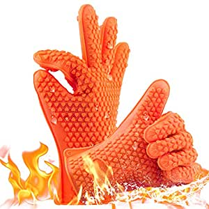 Heat Resistant BBQ Cooking Gloves, Professional Oven Mitts, Best Silicone Grill Gloves BBQ Accessories Waterproof Full Finger, Hand, Wrist Protection