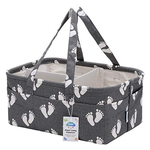 (Baby Diaper Caddy Organizer Bag, Large Portable Nursery Storage Bin for Changing Table, Car Travel Tote for Newborn & Infant, Foldable Compact Baby Basket, Strong Durable Cotton Canvas)