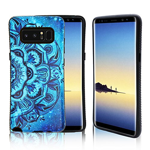 Samsung Galaxy Note 8 Case, ZUSLAB Pattern Design, Shockproof Armor Bumper, Heavy Duty Protective Cover for Galaxy Note 8 (Blue ()