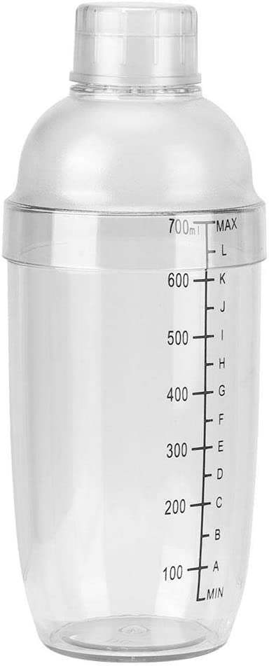 24 oz Plastic Cocktail Shaker with Measurements Clear Drink Mixer Martini Shaker Kit Boston Shaker Professional Bartender Shakers Tool
