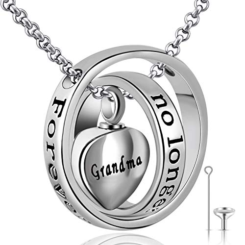 YOUFENG Urn Necklaces for Ashes No Longer by My Side Forever in My Heart Mom Dad Cremation Urn Locket Jewelry (Grandma)