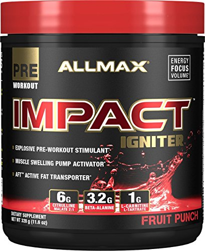 Pre Workout Muscle Igniter - Allmax Impact Igniter Pre-Workout, Fruit Punch, 328g (20 Servings)