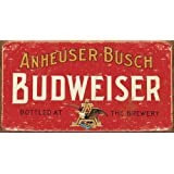Food and Drink Tin Sign featuring The Budweiser Brewer Anheuser Busch 30x22cm