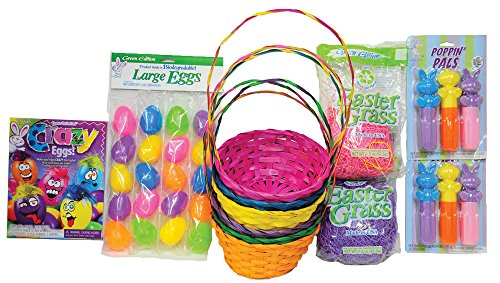 (Deluxe Easter Basket Kit includes Colorful Easter Baskets, Fun Easter Toys, Easter Grass, Easter Egg Dye, Cute Easter)
