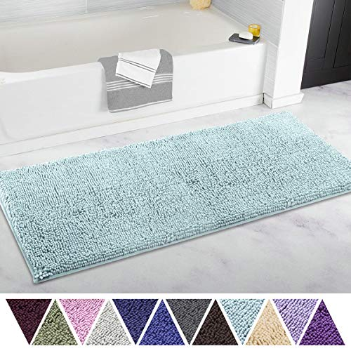 ITSOFT Non-Slip Shaggy Chenille Soft Microfibers Bathroom Rug and Bath mat Water Absorbent, Machine Washable, 21 x 47 Inch Spa Blue